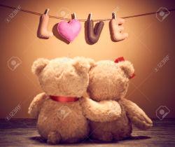 Valentines Day.Word Love heart.Couple Teddy Bears